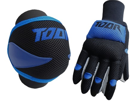 Toor Player Knee Pad & Gloves Set Blue &Black