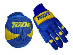 Toor Player Knee Pad & Gloves Set Blue & Yellow