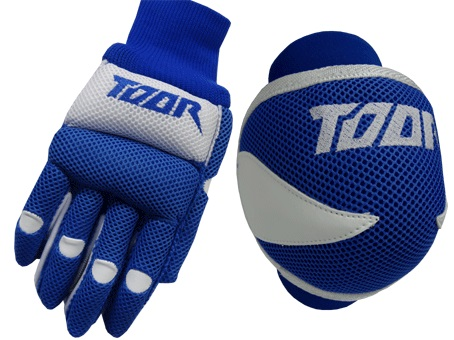 Toor Player Knee Pad & Gloves Set Blue & White
