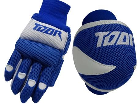 Toor Player Knee Pad & Gloves Set Blue & White