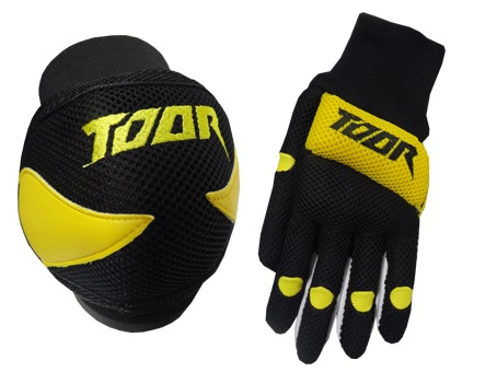 Toor Player Knee Pad & Gloves Set Black & Yellow