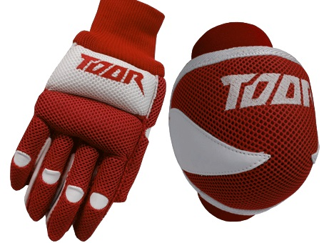 Toor Player Knee Pad & Gloves Set Red & White